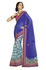 Blue Georgette Net Brasso Saree SC1009