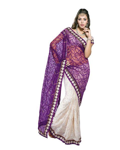 Purple off white Embroidered Brasso & Net Saree SC1460