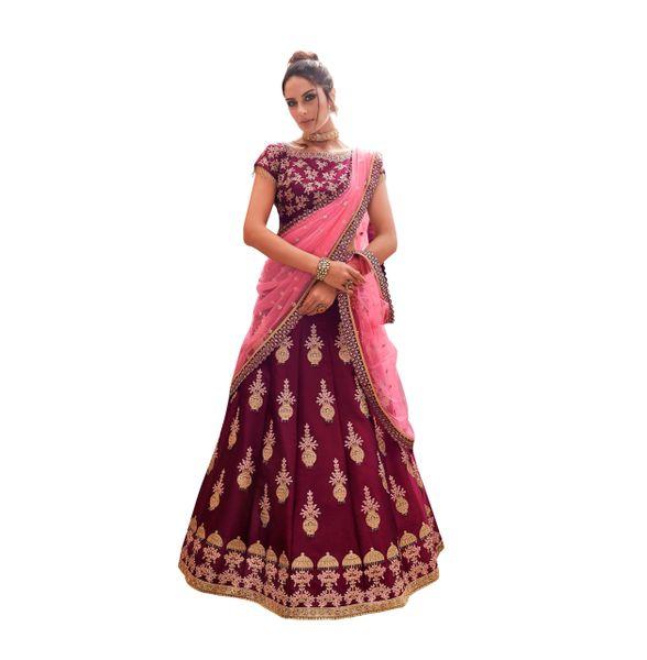 Designer Semi Stitched Satin Silk Lehenga Choli Dupatta (Wine_Free Size)