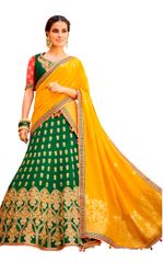 Green Yellow Pure Silk Lehenga Choli Dupatta L508