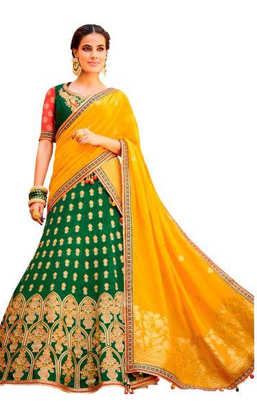 Green Yellow Pure Silk Lehenga Choli Dupatta L508