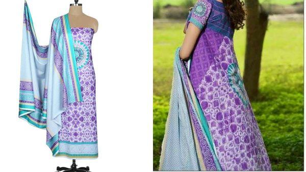 Designer Original Pakistani Sana Samia Purple Lawn Cotton Dress material SSL10B