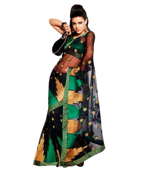 Black Net Embroidered Saree SCA3608