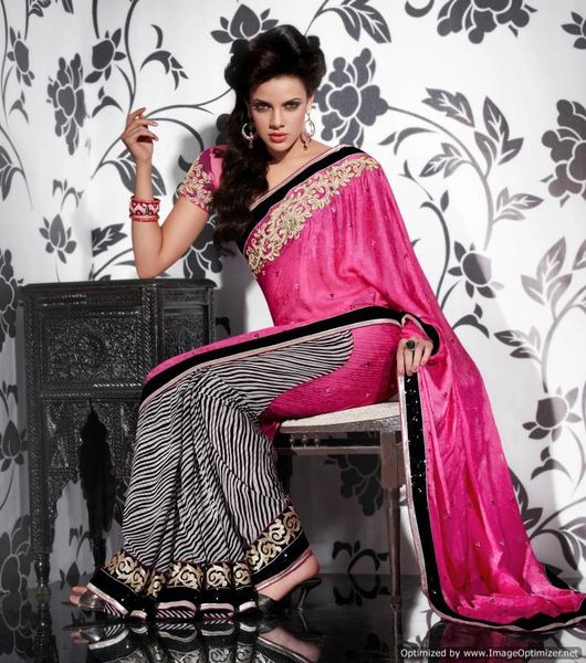 Pink Multi Crepe Georgette Embroidered Saree SCA3623