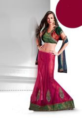 Designer Pink Net 3 pc Shrug Embroidered Lehenga SC2119