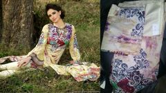 Designer Original Pakistani Sana Samia Cream Lawn Cotton Dress material SSL3A