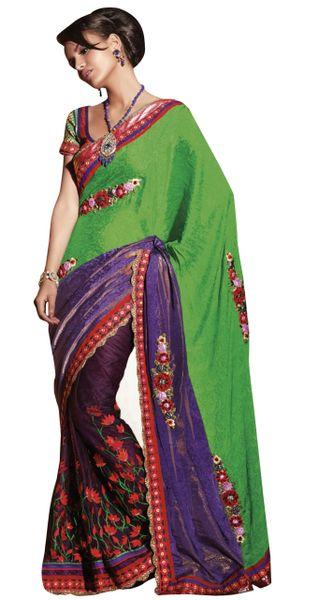 Net Jequard Crepe Green Embroidered Indian Saree Sari SC6118