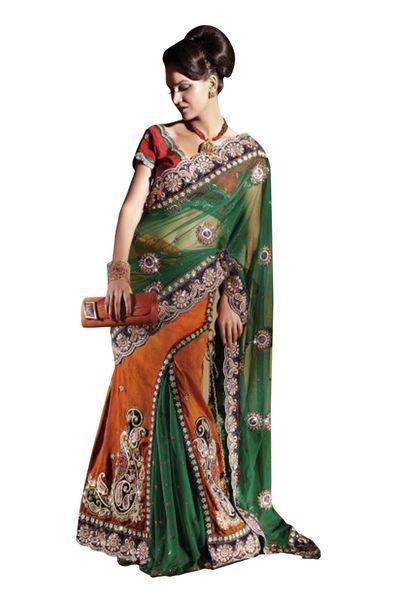 Net Dupion Orange Green Embroidered Lehenga Saree Sari SC6120