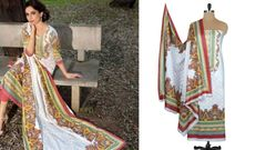 Designer Original Pakistani Sana Samia White Lawn Cotton Dress material SSL4C