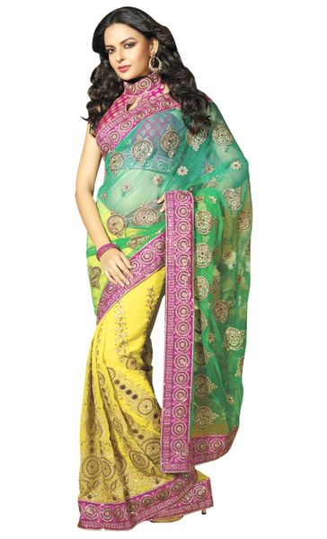 Designer Green and yellow Schiffli Embroidered Net and Georgette saree SC9004B