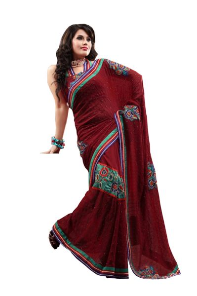 Designer Maroon Georgette Embroidered Saree SC661A
