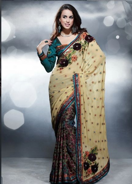 Designer Beige Multi Georgette Crepe Embroidered Saree SC404