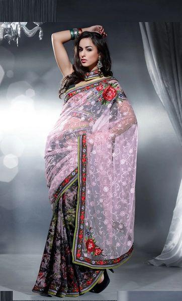 Designer Light Purple Multi net and crepe Embroidered saree SC407