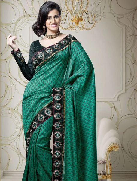 Designer Green Dupion Embroidered Saree SC1509