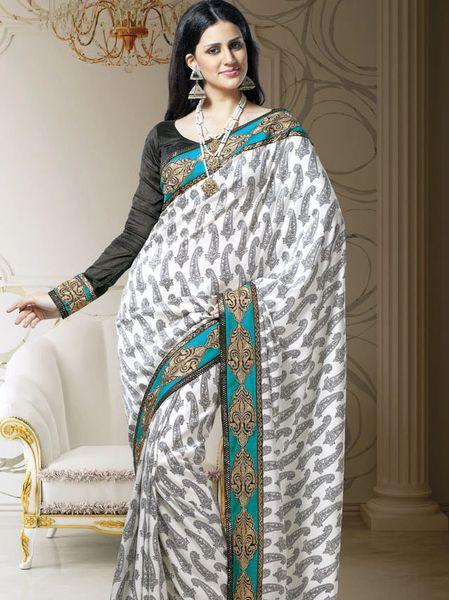 Designer White Dupion Embroidered Saree SC1513