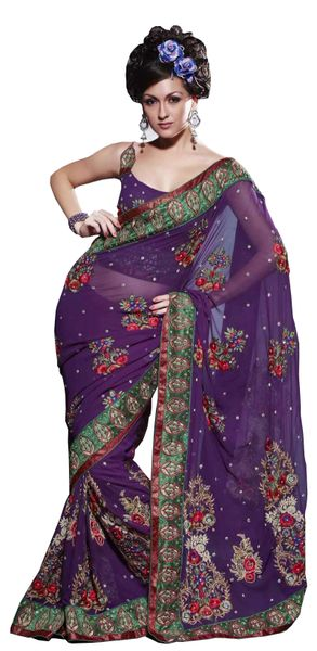 Designer Purple Georgette Embroidered Saree SC120