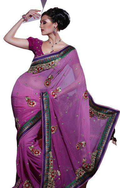 Designer Magenta Georgette Embroidered Saree SC124
