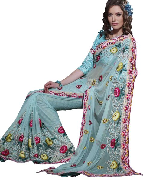 Designer Turquoise Net Embroidered saree SC130
