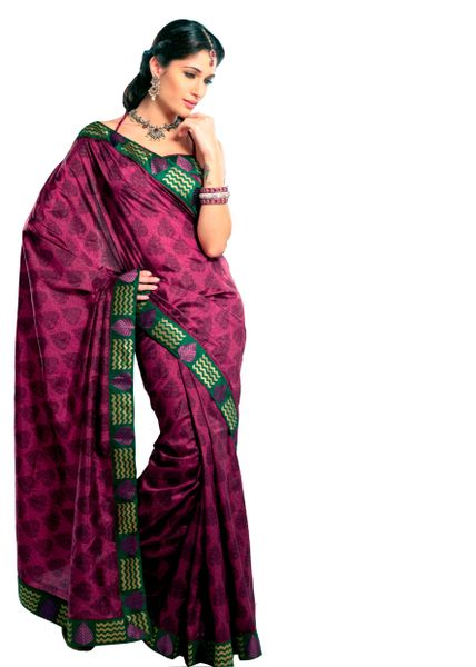 Dupion Printed Embellished Purple Saree SC3321