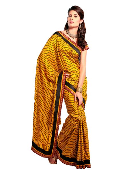 Crepe Printed Embellished Yellow Saree SC3323