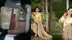 Designer Original Pakistani Sana Samia Blue Lawn Cotton Dress material SSL2A