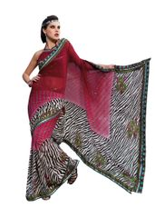 Printed With Highlight Embroiderey Maroon Multi Georgette Saree SC906A