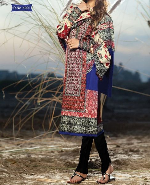Designer Pakistani Printed Glazed Cotton Multi Pant Style Dress material F4001