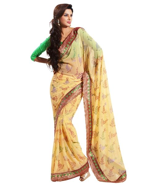 Light Yellow Border Patch Chiffon Saree SC32007