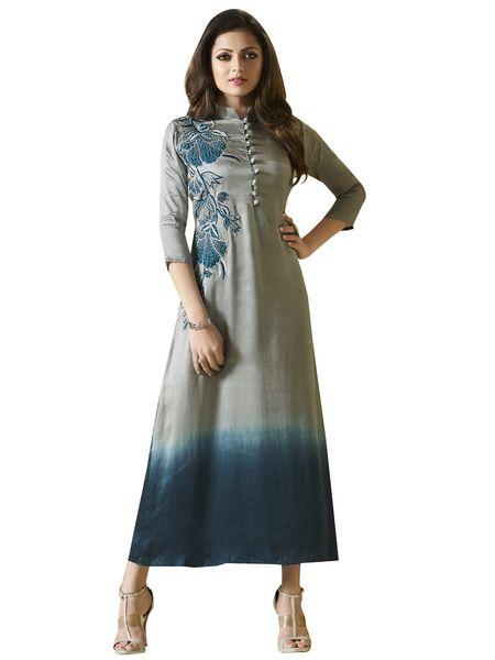 Designer Gray Blue Vicose satin Kurti Kurta Dress Size XL SCLT905