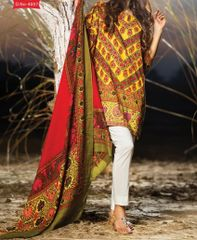 Designer Pakistani Printed Glazed Cotton Brown Pant Style Dress material F4007