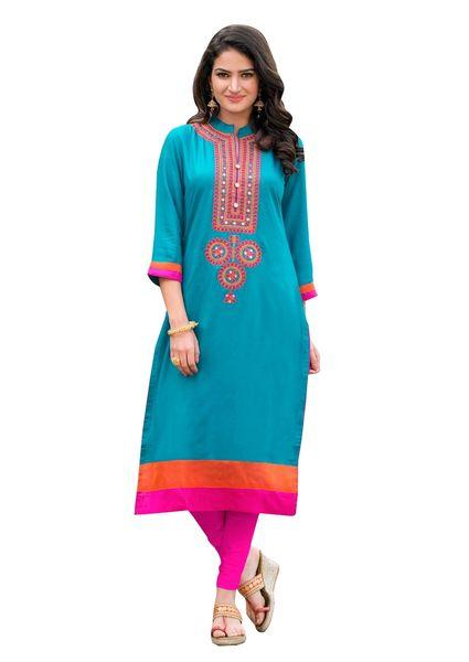 Designer Rayon Cotton Turquoise Embroidered Long Kurta Kurti Size XL SCKS209