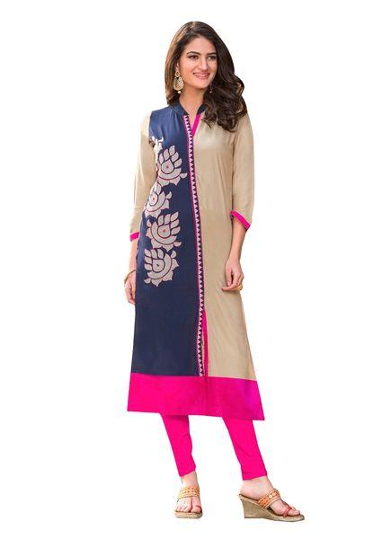 Designer Rayon Cotton Blue Embroidered Long Kurta Kurti Size XL SCKS211