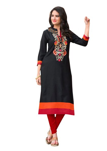 Designer Rayon Cotton Black Embroidered Long Kurta Kurti Size XL SCKS216