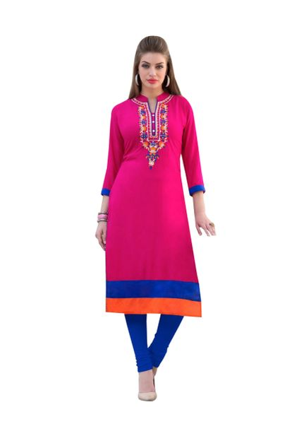 Designer Rayon Cotton Pink Embroidered Long Kurta Kurti Size XL SCKS110