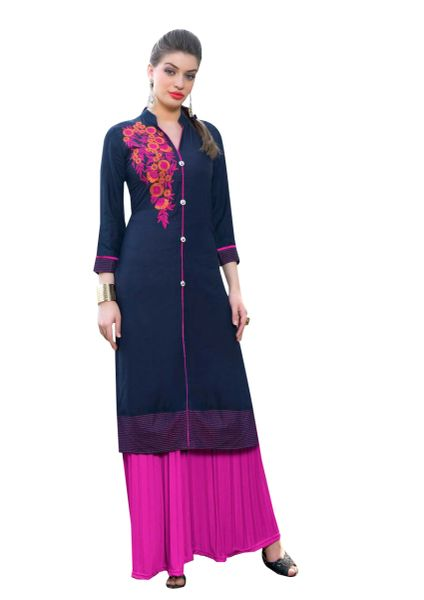 Designer Rayon Cotton Blue Embroidered Long Kurta Kurti Size XL SCKS115