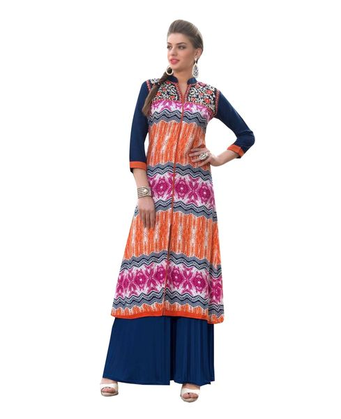 Designer Rayon Cotton Multi Color Embroidered Long Kurta Kurti Size XL SCKS116