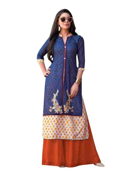 Designer Blue Off WhiteRayon Cotton Kora Silk Layered Embroidered Long Kurta Dress Size XL SCKSD202
