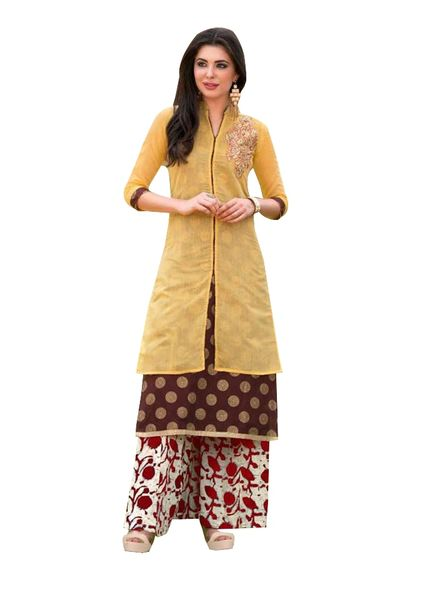Designer Yellow Rayon Cotton Kora Silk Layered Embroidered Long Kurta Dress Size XL SCKSD210