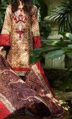 Designer Pakistani Printed Glazed Cotton Brown Pant Style Dress material F5008