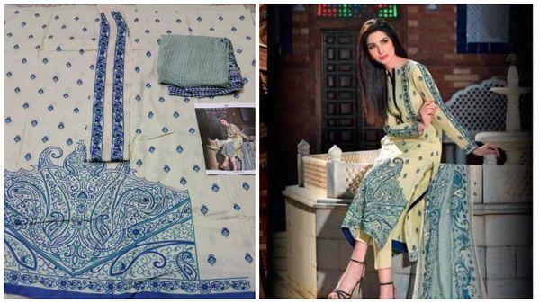 Designer Pakistani Replica Gul Beige Light Embroidered Dress Material Gul11005