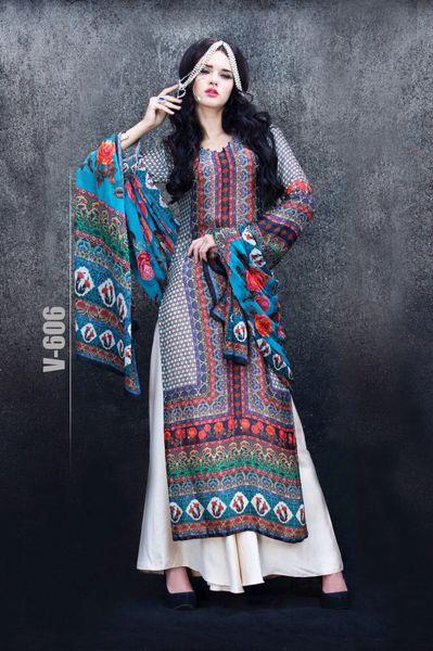 Designer Digital Printed Twill Cotton Kurta with Chiffon Dupatta Fabric Only V606
