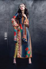 Designer Digital Printed Twill Cotton Kurta with Chiffon Dupatta Fabric Only V608