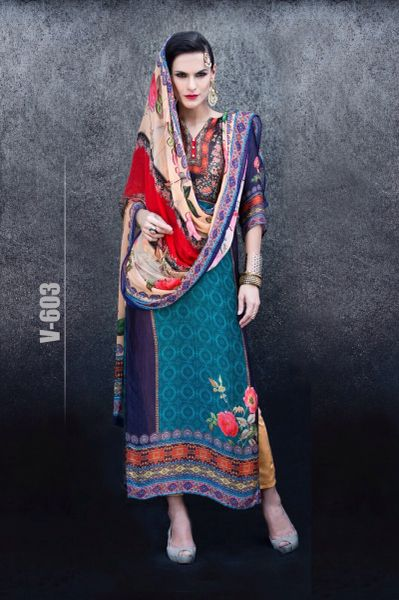 Designer Digital Printed Twill Cotton Kurta with Chiffon Dupatta Fabric Only V603