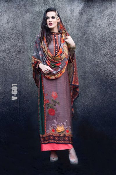 Designer Digital Printed Twill Cotton Kurta with Chiffon Dupatta Fabric Only V601