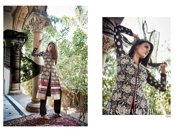Designer Pakistani Replica Semi Stitched Georgette Dress Material Elan3306