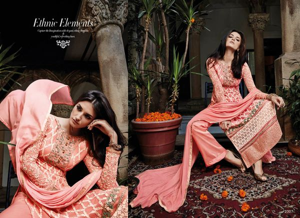 Designer Pakistani Replica Semi Stitched Georgette Dress Material Elan3307