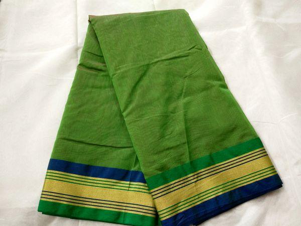 Exclusive Mehndi Green Chanderi Cotton Silk Saree with Golden Blue Border CS42