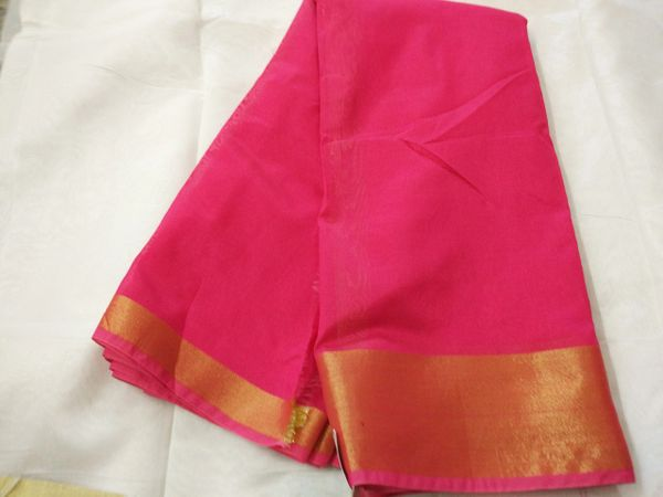 Exclusive Magenta Pink Chanderi Cotton Silk Saree Golden Zari Border CS43
