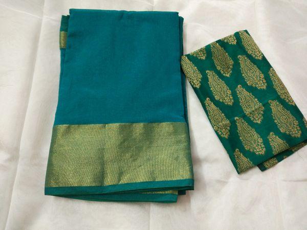 Exclusive Turquoise Chanderi Cotton Silk Saree Antique Zari Border CS45