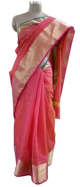 Pink Kota Cotton Zari Border Saree with Running Blouse